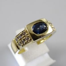 18k men's Band ring with 0.45 ct blue sapphire and 0.12 brilliant-cut diamond - 5.7 grams - ring size 17.25 mm (54)