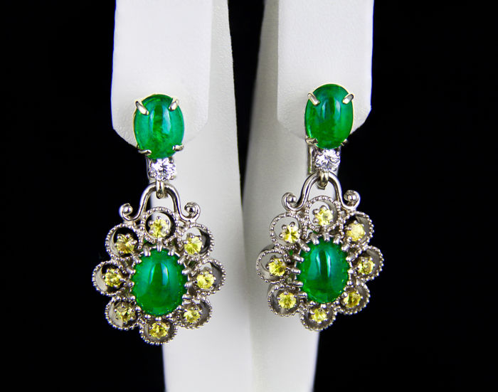 8.81 ct. Emeralds And Sapphires, 18k Gold Earrings. Size: 35 x 19 mm.