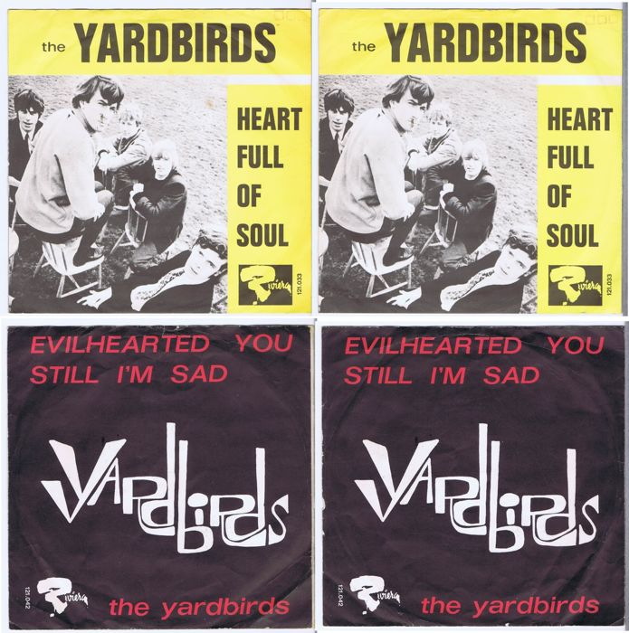 The Yardbirds: 2 rare original 45's with picture sleeve. Heart Full Of Soul & Evil Hearted You (Riviera Records) made in France 1965
