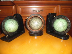 Vintage desk globe and two bookends globe