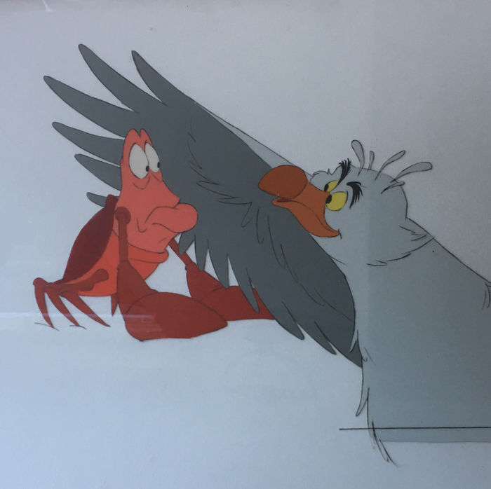 Disney Walt - Original Production Cel - Sebastian and Scuttle - The Little Mermaid (1989)