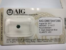 Natural round brilliant cut diamond – 0.19 ct – Fancy – VS1 – Greenish Blue – AIG – No reserve