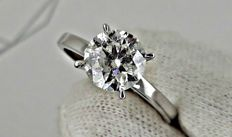 2.04 ct  round diamond ring made of 18 kt white gold - size 7,5