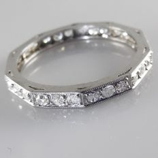 .950 Platina  Art Deco alliance ring met 0.70 ct Diamant
