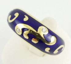 750 yellow gold, enamelled - FABERGE ring - 2 top brilliants, 0.08 ct in total - ring size: 51