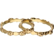 18 kt Yellow gold set of stacking rings. - Ring size: 19 mm