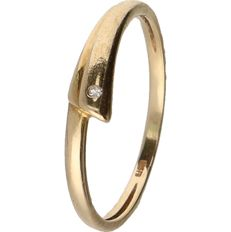 14 kt Bi-colour white/yellow gold ring set with a brilliant cut diamond of approx. 0.005 ct - ring size: 18.5 mm