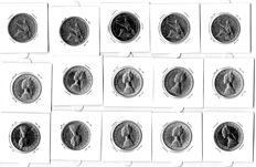 Republic of Italy - 500 Lire (15 coins) - silver