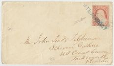 "United States - 3 cents. Washington imperforated with cancellation ""Steamboat"" - Scott. N. 4"