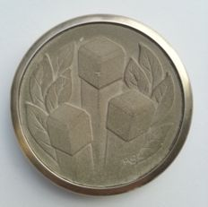 Henk van Bommel - Partially silver plated medal made of cement: A half century of Dutch cement