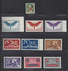 Switzerland 1919/1929 - Selection of Airmail - Michel 145, 179x/184x, 189x/191x