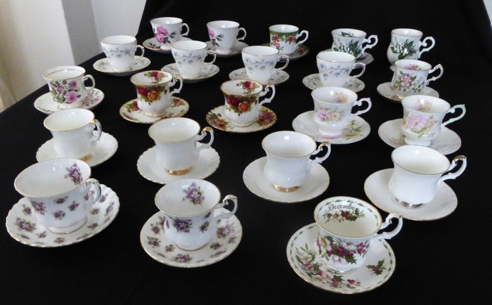 Royal Albert, 9 Cups & Saucers, and 12 other English Bone