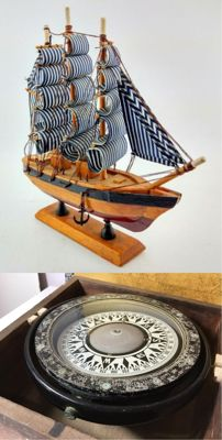 Beautiful wooden sailboat & Nautical compass  -Asia