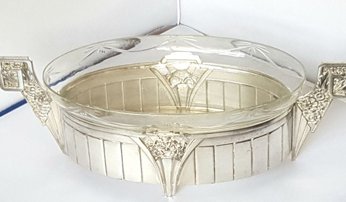 Verzilverde jardiniere, orfevrerie dilecta depose N 404 made in France, Jugendstil, 1930