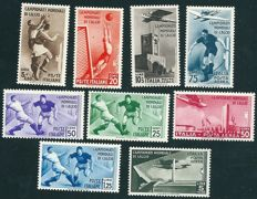 Kingdom of Italy 1934 - 'Campionati Mondiali di Calcio' (World Football Championships) - Sass. Nos.  357/361 + A69/A72