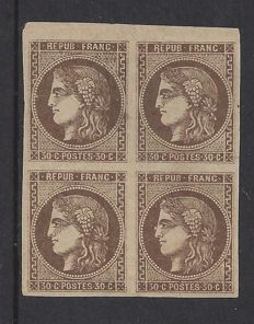 France 1870 - 30c. brun type Emission de Bordeaux, Expertized Kohler - Yvert 47 in block of 4