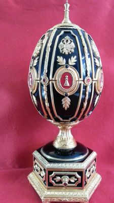 Fabergè imperial jeweled egg with mini chess set, -enemeled, -gold plated , -sterling silver plated, red ruby,