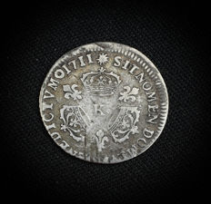 Louis XIV (1643-1715) - 1/10 ecu with 3 crowns - 1711 K (Bordeaux) Silver