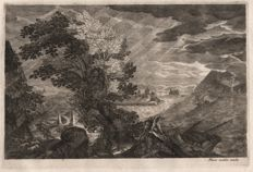Aegidius Sadeler ? (1570-1629 ) - Landscape with storm and shipwreck  - Marco Sadeler excudit -  Ca.1600