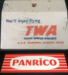 Advertising Wooden paper step - Trans World Airlines - 1948 - Vintage Plastic Advertising Cardboard - Panrico - 1980