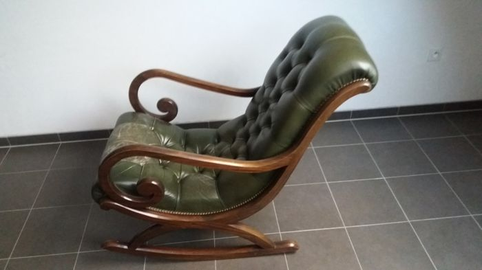 mahogany green leather chesterfield style rocking chair second half of 20th century catawiki. Black Bedroom Furniture Sets. Home Design Ideas
