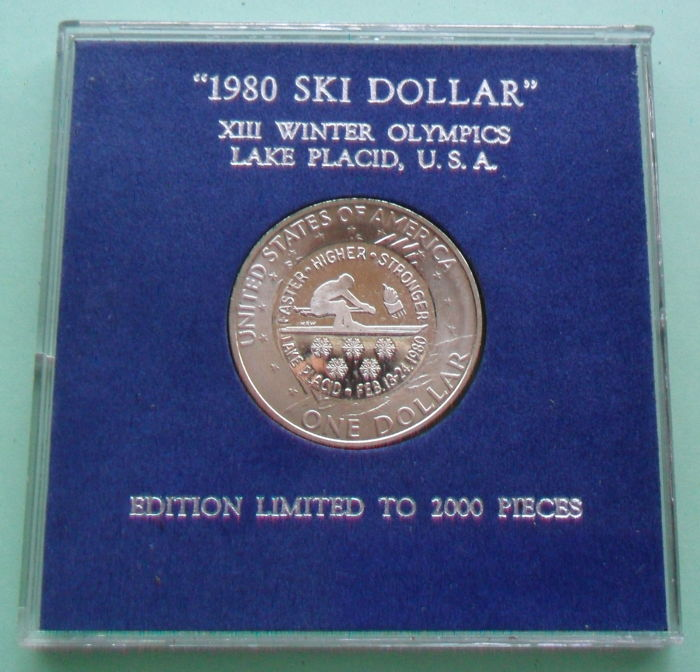 United States - Dollar 1971 Eisenhower with Countermark '1980 Ski Dollar / XIII Winter Olympics Lake Placid'