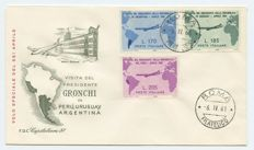 Italian Republic 1961- uncancelled Pink Gronchi, on official FDC envelope with Rome philatelic postmark dated 6 April 1961 stamped on the other values of the series