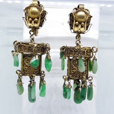 Antique estate Chinese silver gilt natural old Jade Dragon head Lantern earrings,  1900-1930