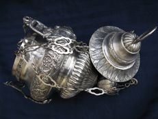 Antique silver devotional lamp, silver title 834/1000, Naples Italy -1809/1840