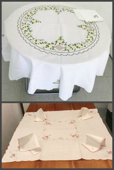 2 beautiful old very tablecloths in pure cotton with embroidery