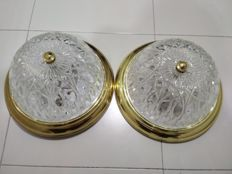 Pair of vintage ceiling lamps with a carved glass lampshade.
