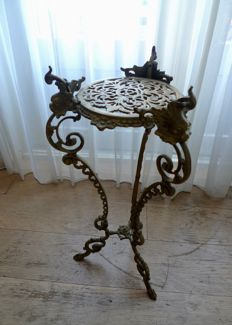 Art nouveau style bronze-brass plant stand - Mid 20th century