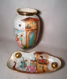 Quaregnon Belgium / Hubert Bequet - Large ceramic faience vase and dish, hand painted Riviera decor