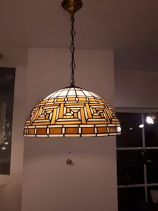Hanging lamp, stained glass, 20th century, brown-ochre white orange colour pallette, very nice when illuminated.