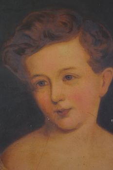 Continental school (19th century) - Portrait of a child holding a boat