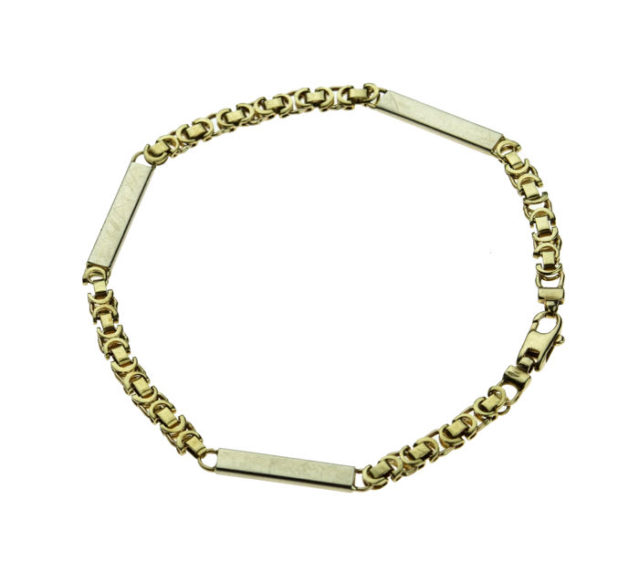 14 kt gold king´s bracelet - bi-colour link with plaques, Length 22 cm