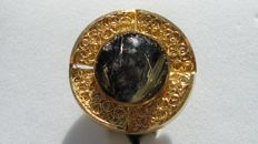 Rutilated Quartz Ring gold 19.2 K / 800, Weight 11.18 g,