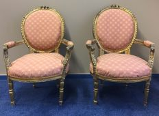 Set of gilt wood Louis XVI-style medallion armchairs - France - Ca.  1900