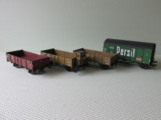 Spoor 0 - Brawa/O-Scale models - 4 various freight wagons