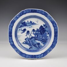 A Blue and White Porcelain Plate, Qianlong Period, With Finely Painted Landscape - China