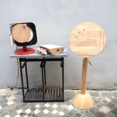 Luciano Biscarini - Table lamp, floor lectern and chopping board