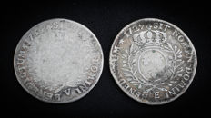 France - Louis XV (1715-1774) - 1/2 Ecu with olive branches 1729-E and 1734-V (lot of 2 coins) - silver