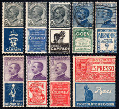Kingdom of Italy - Nine advertising stamps from 1924