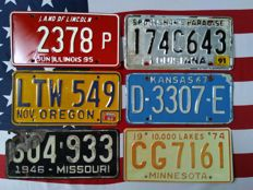 6 USA classics number plates registration plates license plates