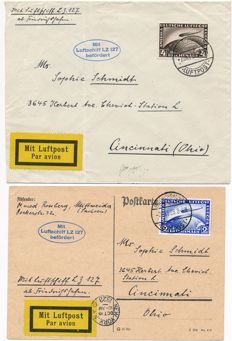 German Empire/Reich - 1928 - Zeppelin letter with 2RM and 4RM Zeppelin LZ 127 to Ohio (USA) Michel, 423-424