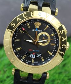 Versace - Mens - V‑Race GMT Alarm - Gold Plated Bezel Watch - New & Mint Condition