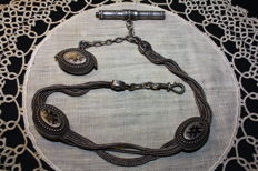 Napoleon III silver chain for pocket watch