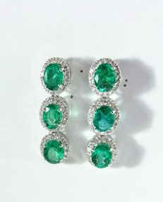 9.3ct Emerald and Diamond earrings.