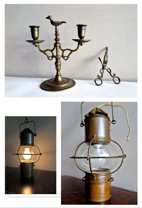 Vintage set of 3: Authentic French Ship's lantern, 2-armed candle holder and candle wick cutter