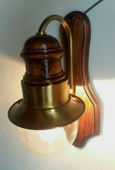 Copper ship lamp with blown glass sphere